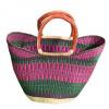 Pink & Green Hand Woven Bag