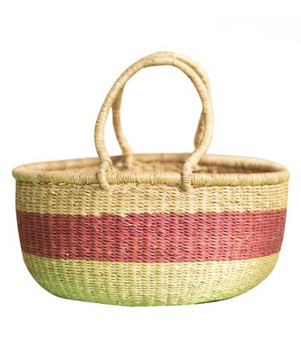 Pink Stripped Hand Woven Basket