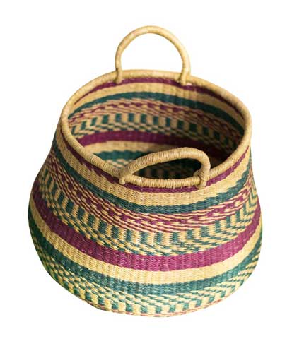 Purple & Green Hand Woven Basket