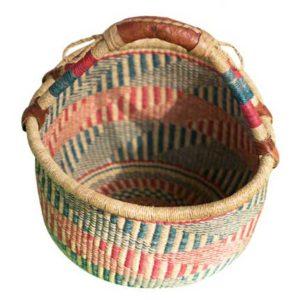 Green & Pink Hand Woven Basket