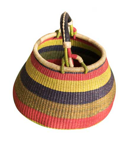 Stripped Hand Woven Basket - Multicoloured