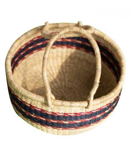 Hand Woven Basket - Blue Stripped