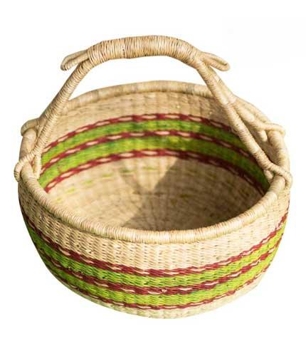 Hand Woven Basket - Green Stripped