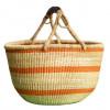 Hand Woven Basket - Orange Stripped