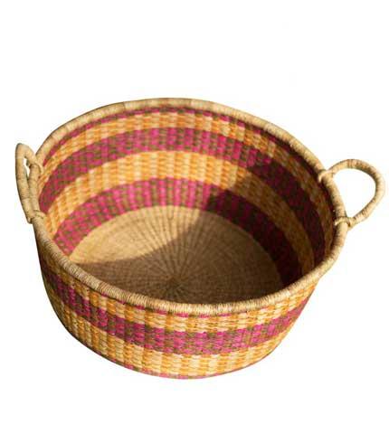 Hand Woven Basket - Orange & Violet Stripped