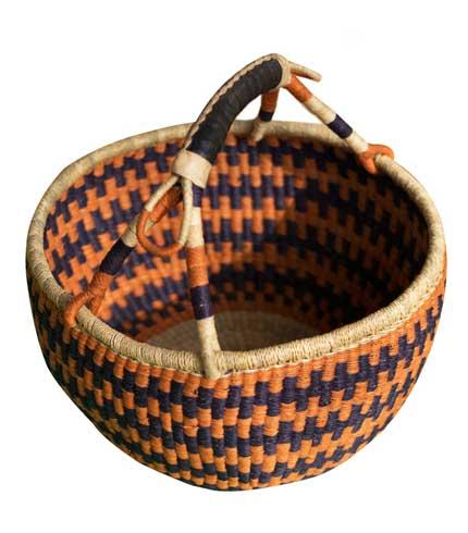 Hand Woven Basket - Orange & Blue Design