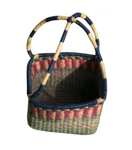 Hand Woven Rectangular Basket - Multicoloured