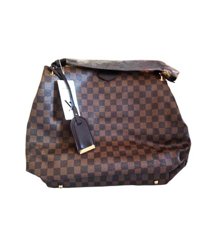 Brown Checkered Ladies Handbag
