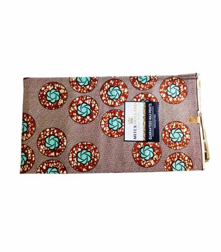 Brown & Sea Blue African Print Cloth