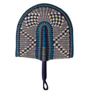 Hand Fan - Blue Woven Straw