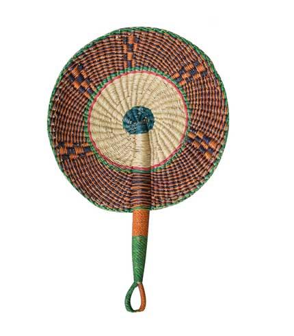 Woven Straw Hand Fan - Orange Design