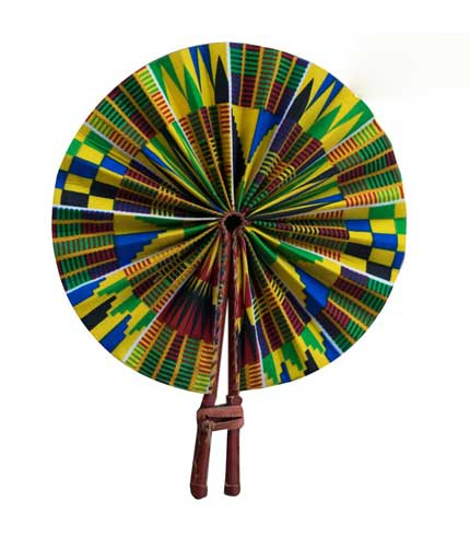 African Print Hand Fan - Green