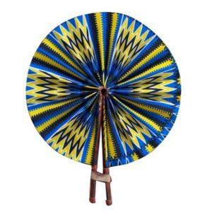 African Print Hand Fan - Blue