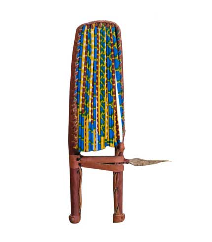 African Print Hand Fan - Blue and Yellow