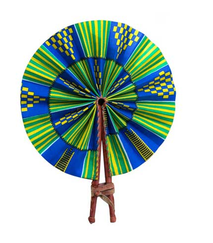African Print Hand Fan - Green and Blue