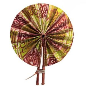 African Print Hand Fan - Brown