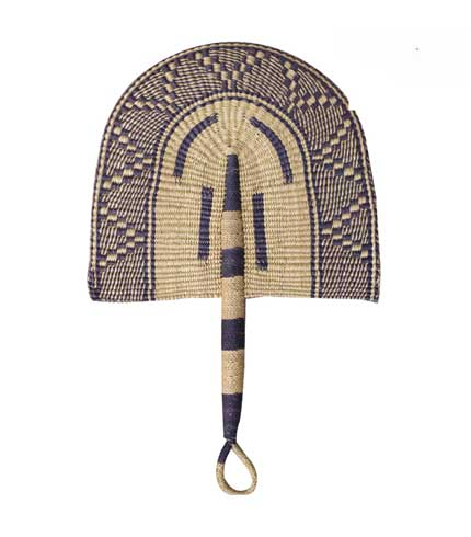 Woven Straw Hand Fan - Purple Design