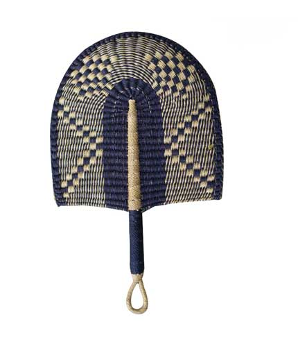 Woven Straw Hand Fan - Dark Blue Design