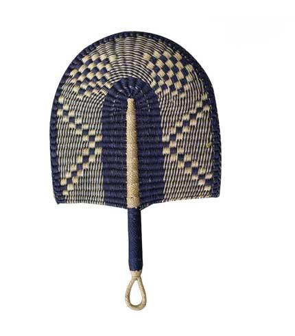 Woven Straw Hand Fan - Dark Blue Design