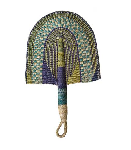 Woven Straw Hand Fan - Green Design