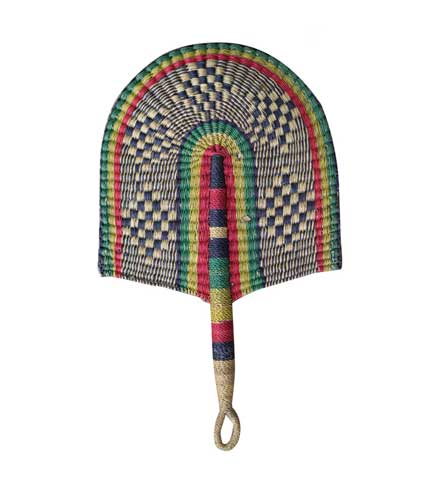 Woven Straw Hand Fan - Multicoloured