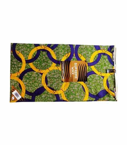 Supreme Wax Green, Yellow & Blue African Print Cloth