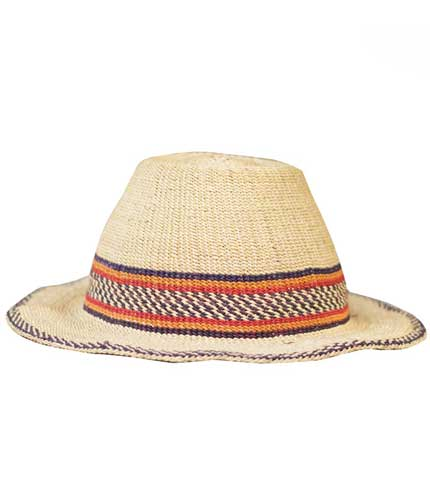 Straw Hat - Checkered Strip