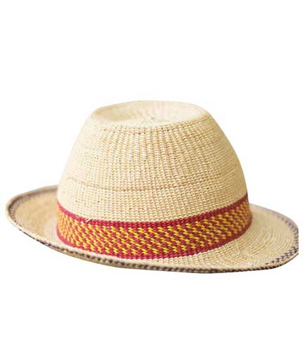 Straw Hat - Orange Checkered Strip