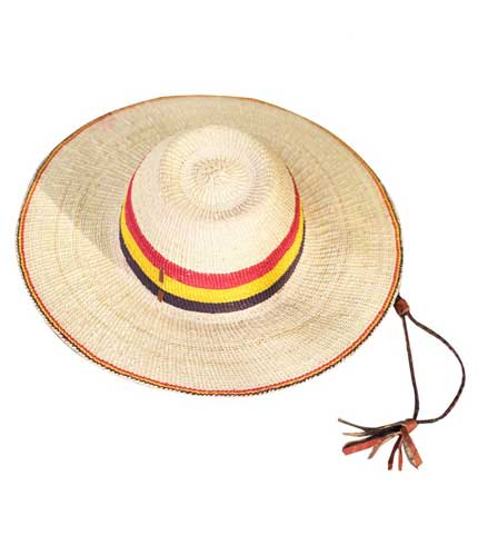 Straw Hat - Red, Yellow, Black Strip