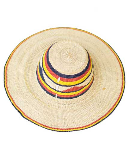 Straw Hat - Red, Yellow, Black Design