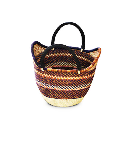 Hand-Woven Shopping Basket - Brown