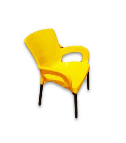 Mental leg plastic chair