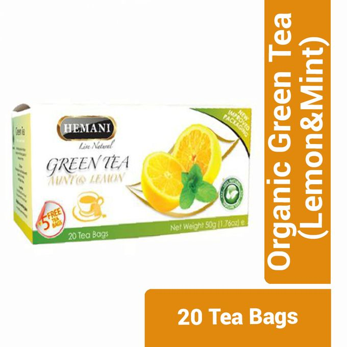 Hemani Organic Green Tea (Lemon&;Mint) - 20 Tea Bags