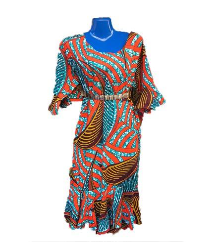 African Print Dress - Orange & Sea Blue