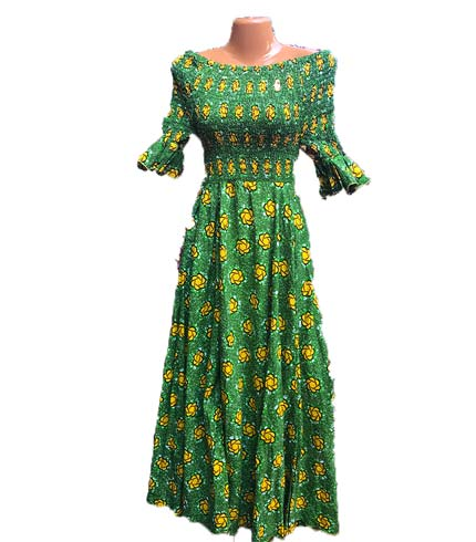African Print Dress - Green