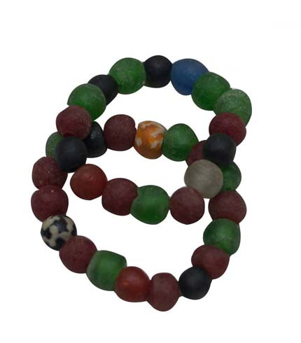African Beaded Bracelet - Green, Blue & Brown