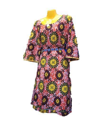 African Print Dress - Pink & Yellow