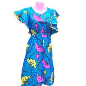 African Print Dress - Blue, Pink & Yellow