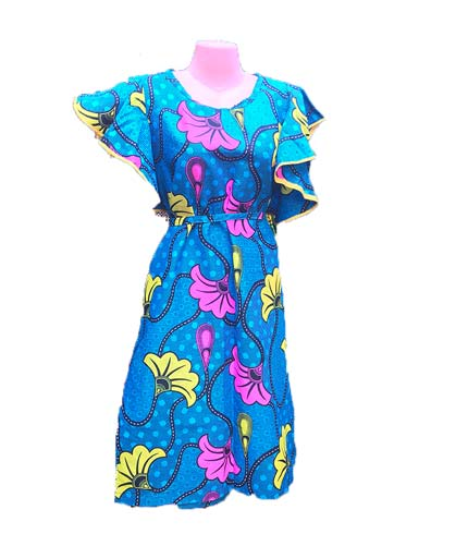 African Print Dress - Blue, Pink & Yellow