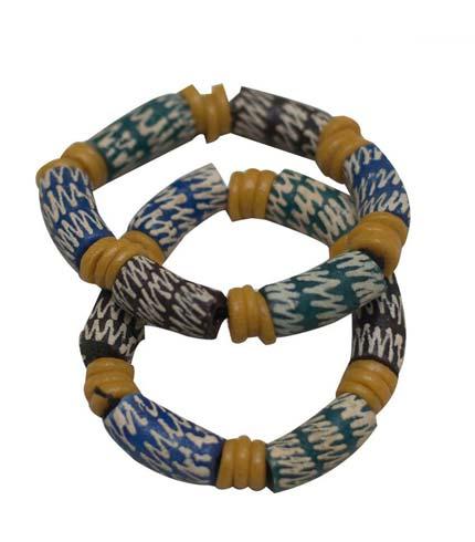 African Beaded Bracelet - Brown, Yellow & Green