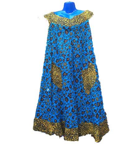African Print Dress - Blue & Yellow