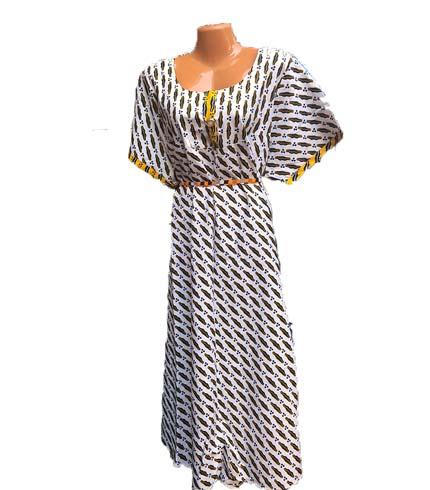 African Print Dress - White Design