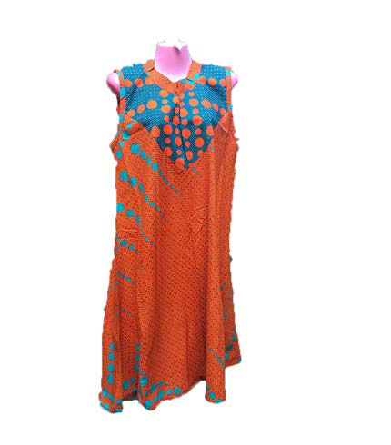 African Print Dress - Orange & Blue