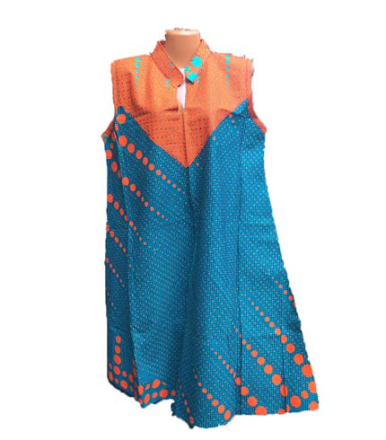 African Print Dress - Blue & Orange