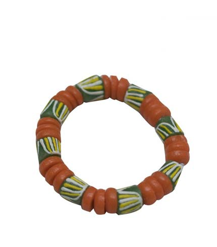 African Beaded Bracelet - Green & Orange