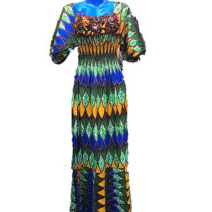African Print Dress - Green & Blue