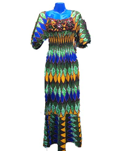 African Print Dress - Green & Blue