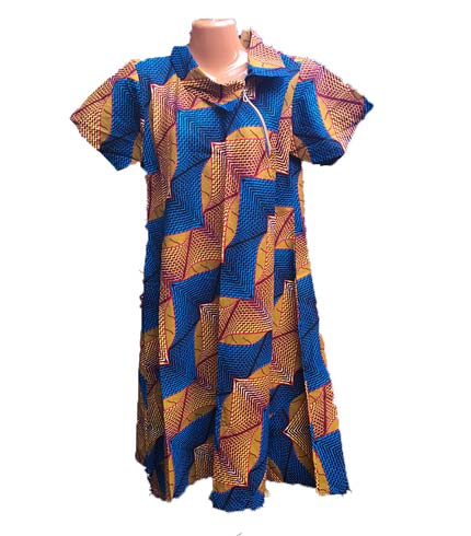 African Print Dress - Orange & Blue Design