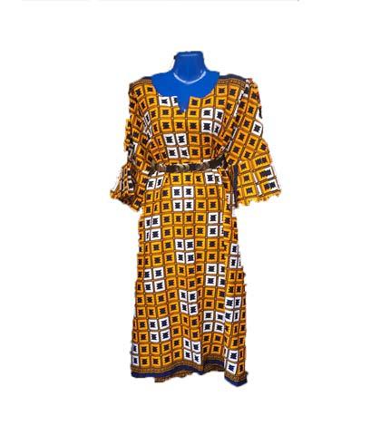 African Print Dress - Yellow & Brown