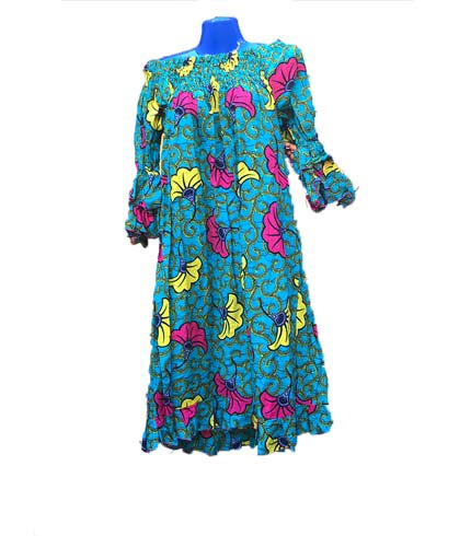 African Print Dress - Sea Blue Design